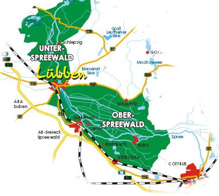 Umgebung Spreewald Karte